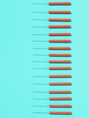 Row of acupuncture needles