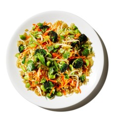 Rice dish with broccoli, carrots, and edamame