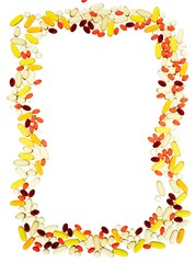 Frame outline of vitamins and pill tablets