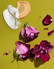 Dried rose petals with smeared lotion and liquid cosmetics