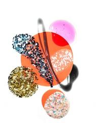 Design of glitter liquid cosmetics on white background