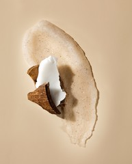 Coconut and smeared exfoliating skin scrub