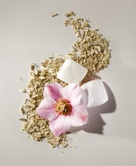 Pink flower with marshmallows and grains