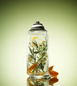 Jar of chamomile flowers in liquid