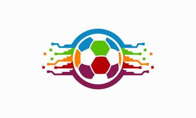 Colorful Ball Tech logo designs concept, Colorful Soccer Ball logo template