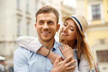 Couple In Love. Happy Romantic People On Street