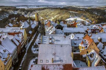 Rothenburg ob der Tauber in inverno vista dall'alto