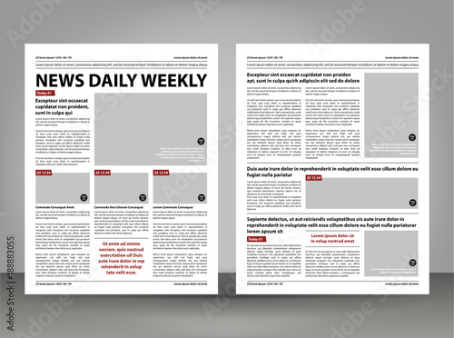 Newspaper Template Layout Print Design With Dark Red And Black