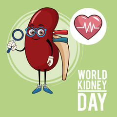 World kidney day cartoon icon vector illustration graphic design