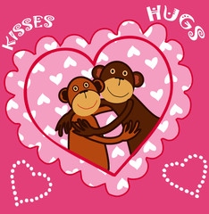 Cute monkey in love, Valentine card vector art.