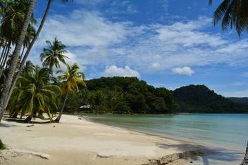 The beauty of the beach in Thailand./Beautiful white sand beach with coconut trees and mountains waiting for visitors.