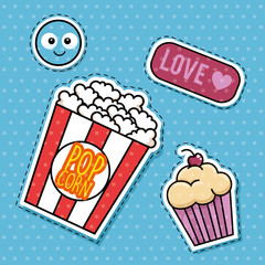 sweet stickers pop art vector illustration design