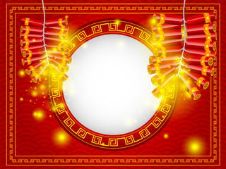 chinese happy new year firecracker with copy space