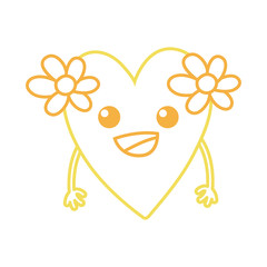 color line happy heart with flowers kawaii with arms