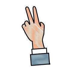 Hand peace symbol icon vector illustration graphic design