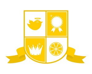 cute yellow pop emblem heraldic badge coat of arm image