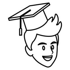 Student man with graduation hat icon vector illustration graphic design