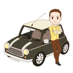 The man and small car.