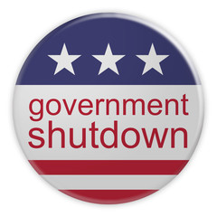 USA Politics News Badge: Government Shutdown Button With US Flag, 3d illustration