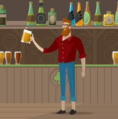 hipster guy drinking a beer