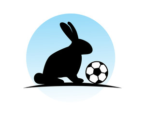 soccer football rabbit hare rabbit fauna black silhouette image