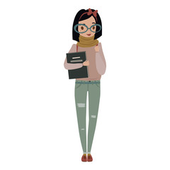 nerdy young woman holding books, wearing sweater, jeans, scarf, boots, bow and glasses. vector people character illustration. female nerd with black bob haircut.