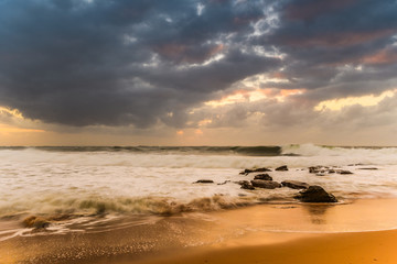 Sunrise Seascape with Big Surf