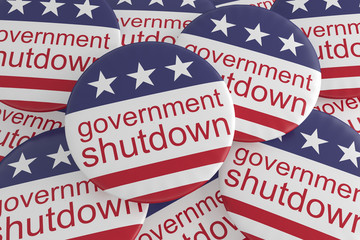 USA Politics News Badges: Pile of Government Shutdown Buttons With US Flag, 3d illustration