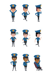 Police officer icons cartoon icon vector illustration graphic
