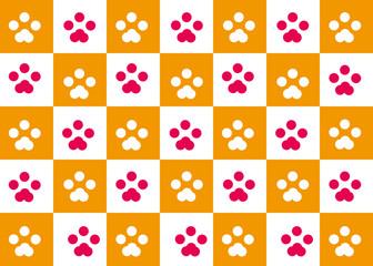 猫・犬足跡の市松模様