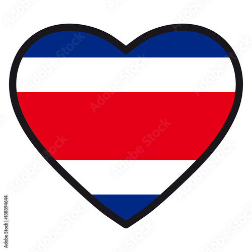 Flag Of Costa Rica In The Shape Of Heart With Contrasting Contour