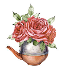 hand drawn watercolor copper kettle with a bouquet of purple flowers roses on white background