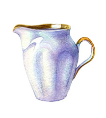 hand drawn watercolor porcelain kettle on white background