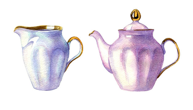 set of hand drawn watercolor porcelain kettle on white background