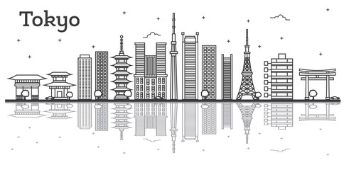 Outline Tokyo Japan City Skyline with Modern Buildings Isolated on White.