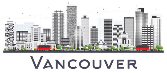 Vancouver Canada City Skyline with Gray Buildings Isolated on White Background.