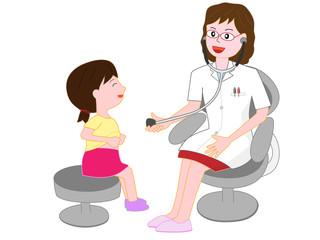 女医から診察を受ける患者