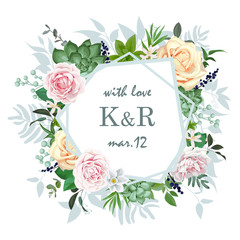 Original wedding invitation with roses and succulents 1