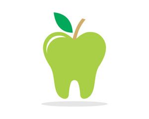 green apple tooth teeth dent dental dentist image icon