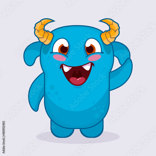 cute cartoon monster happy monster emotion cute monster