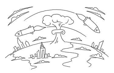 Nuclear war hand-drawn sketch. Nuclear weapons. Bombs of a rocket fly over the planet. Hand drawn vector stock illustration.