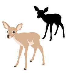 young deer  black silhouette vector illustration flat style profile