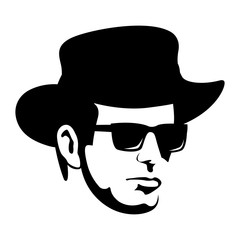 man  in hat face vector   illustration flat style profile