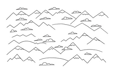 Mountains and clouds. Drawing the sketch by hand. Top view of the panorama to horizon. Hand drawn vector illustration.