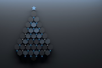 Christmas tree made of hexagons with blue decorative spheres and a star. 3d illustration.