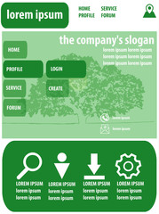 flat website design in green colors. The environment, agriculture, nature