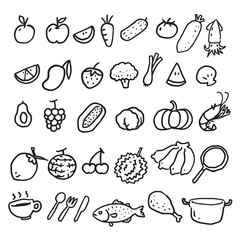 hand draw food, vector