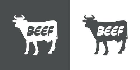 Icono plano BEEF en vaca gris y blanco