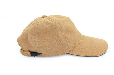 Brown cap isolated on White Background. Sports hat.