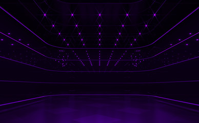 Empty room modern black space interior with violet light 3d rendering image.Wall,floor and ceiling made of glossy materials. Decorated with violet lights hidden in the wall.